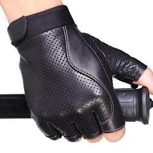 cef9051e7 Men's Leather Gloves Fingerless Half Finger Motorcycle Cycling ...