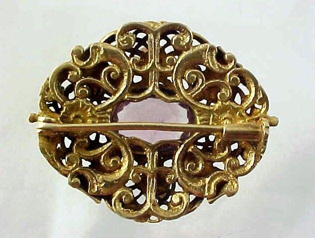 Antique Vintage Gold over Sterling Silver, Amethy… - image 2