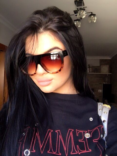 11888f9397 Celine flat top inspired leopard and black oversized womens sunglasses