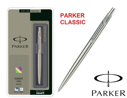 GENUINE PARKER CLASSIC STAINLESS STEEL BALL POINT PEN CT Free Black Refill