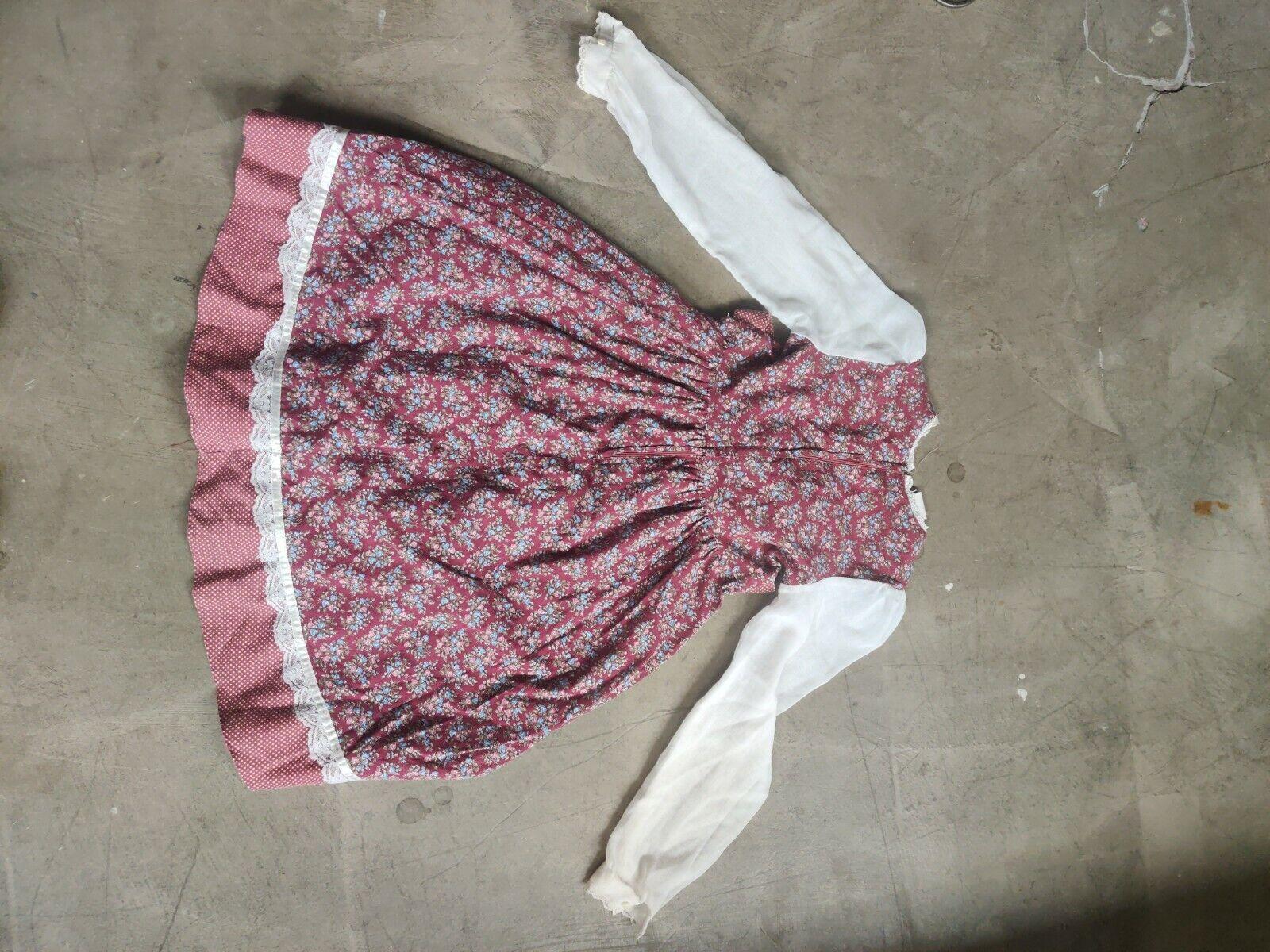 Vintage Child Girls Dress Gunne Sax Floral Lace P… - image 4