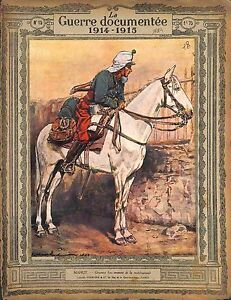 Goumier-a-Cheval-Pantalon-Rouge-Cavalerie-de-Maurice-Mahut-Peintre-1914-WWI