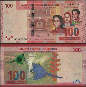 Bolivia P251 B420 100 Bolivianos 2018 UNC A Prefix  -Azul @ Ebanknoteshop