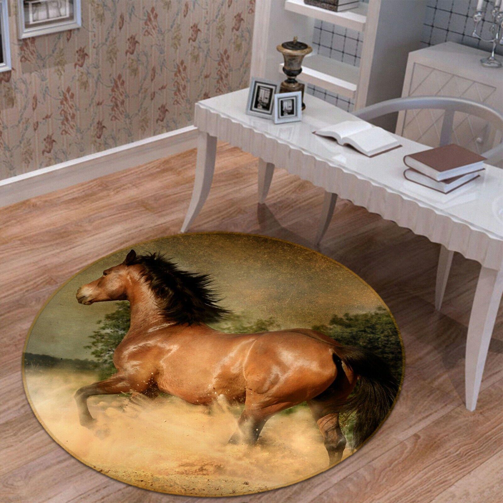 3D braun Horse Run C11 Animal Non Slip Rug Mat Elegant Photo Carpet Zoe