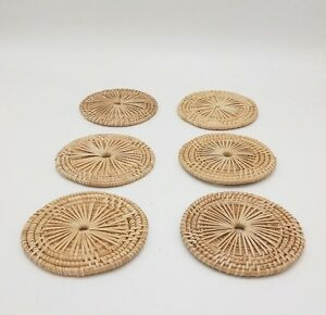LOT OF 12 x VINTAGE WICKER RATTAN WEAVE COASTER HANDMADE WOVEN CUP HOLDER NICE