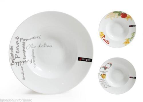 blanc décoré en porcelaine Boîte de 6-Semelle pâtes plaques de grands bols 30.5x6cm