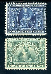 USAstamps-Unused-FVF-US-1907-Jamestown-Scott-328-MLH-330-MHR-OG