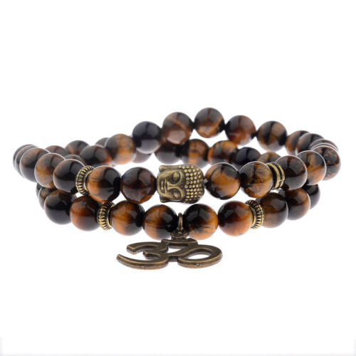 Fashion Pierre naturelle Perles double enroulement Bouddha Perles Charme Bracelets Bijoux