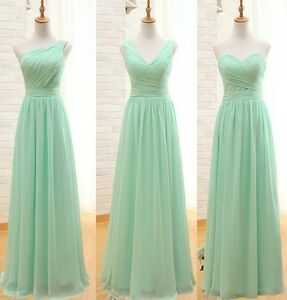 Image Is Loading Mint Green Gathered Chiffon Bridesmaid Dress Uk Tailor