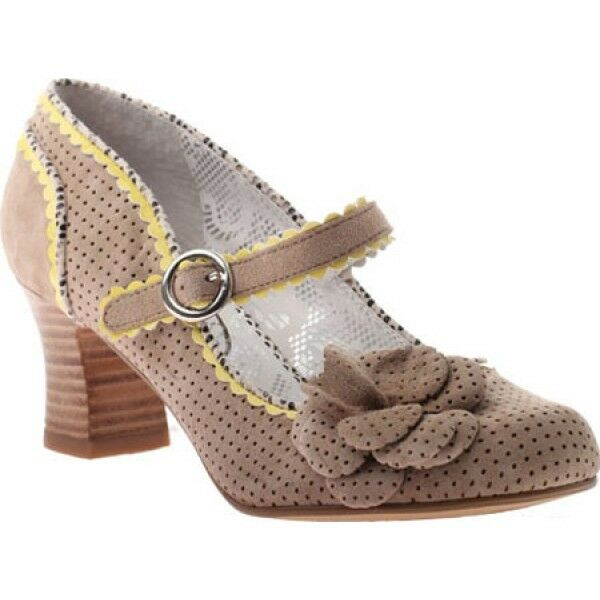 POETIC LICENCE Schuhe 7.5 AGENDA TAN YELLOW MARY JANE PUMP FLOWER POLKA DOTS