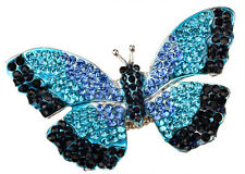 Butterfly stretch ring bling scarf fashion jewelry gift for women silver blue 12