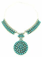 Beautiful Navajo Sterling Silver Turquoise Cluster Necklace - Juliana Williams
