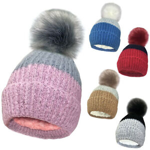 be50644b97c Extra Large Faux Fur Pom Pom Hat Ladies Womens Warm Two Tone Bobble ...