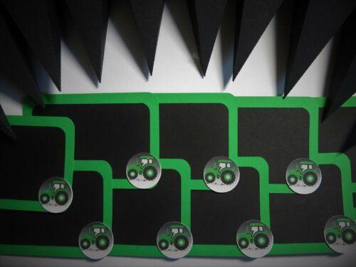 Neu Tischdeko Traktor Deko Schwarz Grün Einschulung Schulanfang Schultüte Tafel