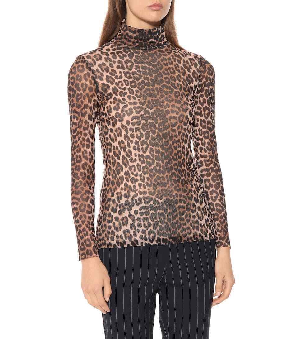 Ganni Tilden Leopard Print Mesh Roll Neck Top NWT  damen sz 34