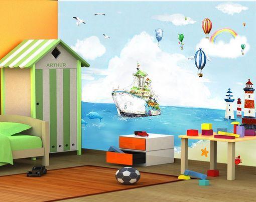 3D Torre, mare, nave Parete Murale Carta da parati immagine sfondo muro stampa