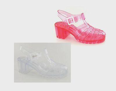 71031d7d503 Mujer REBAJAS Ajustadas Retro 90s Transparente Gel Tacón Zapatos Rosa Claro