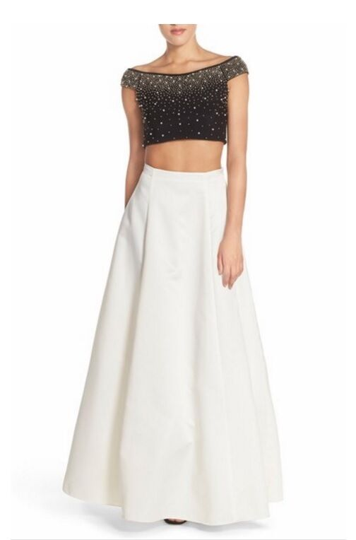 Xscape Embellished Satin Two-Piece Gown  (size 8)