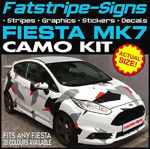 Ford Fiesta Mk7 Graphics Camo Stickers Decals Bonnet Roof