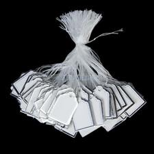 500 White Silver Labels Tie String Strung Price Tags Watch Cloth Display