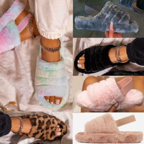 Fluffy-Fur-Slippers-Slides-Peep-Toe-Snug-Warm-Yeah-Elastic-Strap-Sandals-Womens