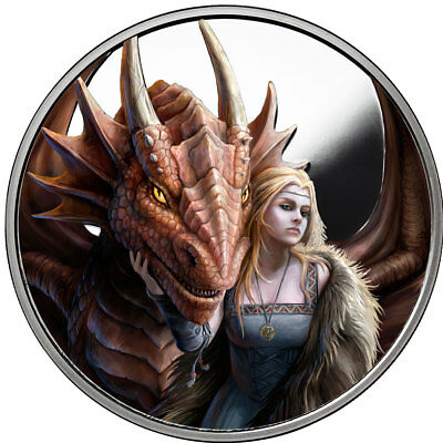 Anne Stokes Dragons Series Friend Or Foe 1 oz Silver Proof Capsuled Round W//COA