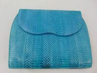 J. Renee' Blue Snakeskin Envelope Style Purse Evening Handbag