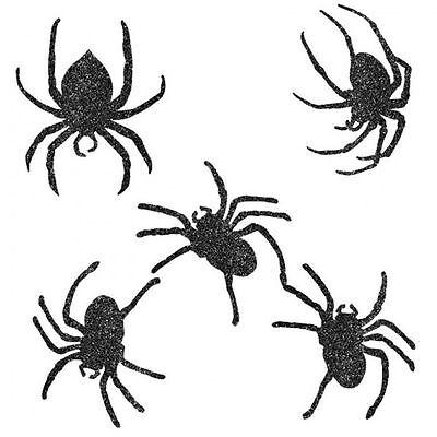 9 x Halloween Decorations *Glittery Spider Cutout Wall & Window Decorations