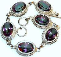 Uk Hallmarked 925 Sterling Silver Mystic Fire Quartz Bracelet Unique Jewelry 35g
