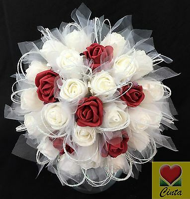Artificial Flower Foam Rose Flowers Bridal Wedding Bouquet. cintahomedeco