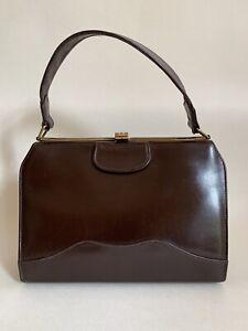 MOREWARE-1960s-Brown-Calf-Leather-Vintage-Handbag-With-Brown-Fabric-Lining