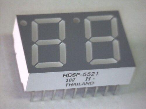 7-Segment Doppelanzeige 2 Digit LED Display 14,2mm HE-RED HDSP-5521 gem Anode