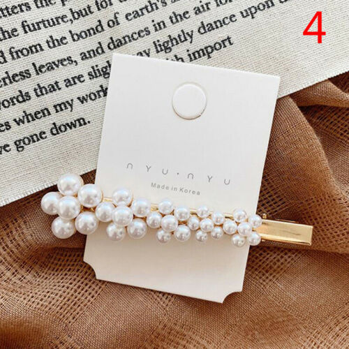 Women Pearl Hair Clip Snap Barrette Stick Hairpin Bobby Hair Accessories In UK