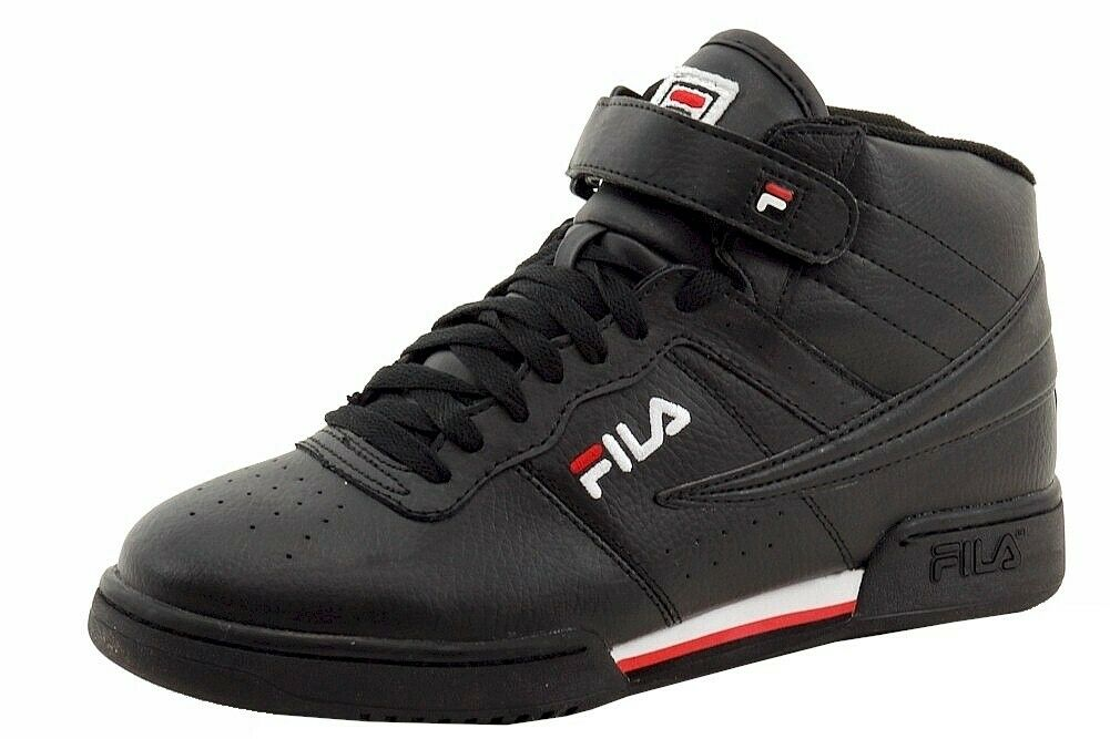 323c38699f5aa Fila Men's F-13V Black/White/Fila Red Mid-Top Basketball Sneakers Shoes