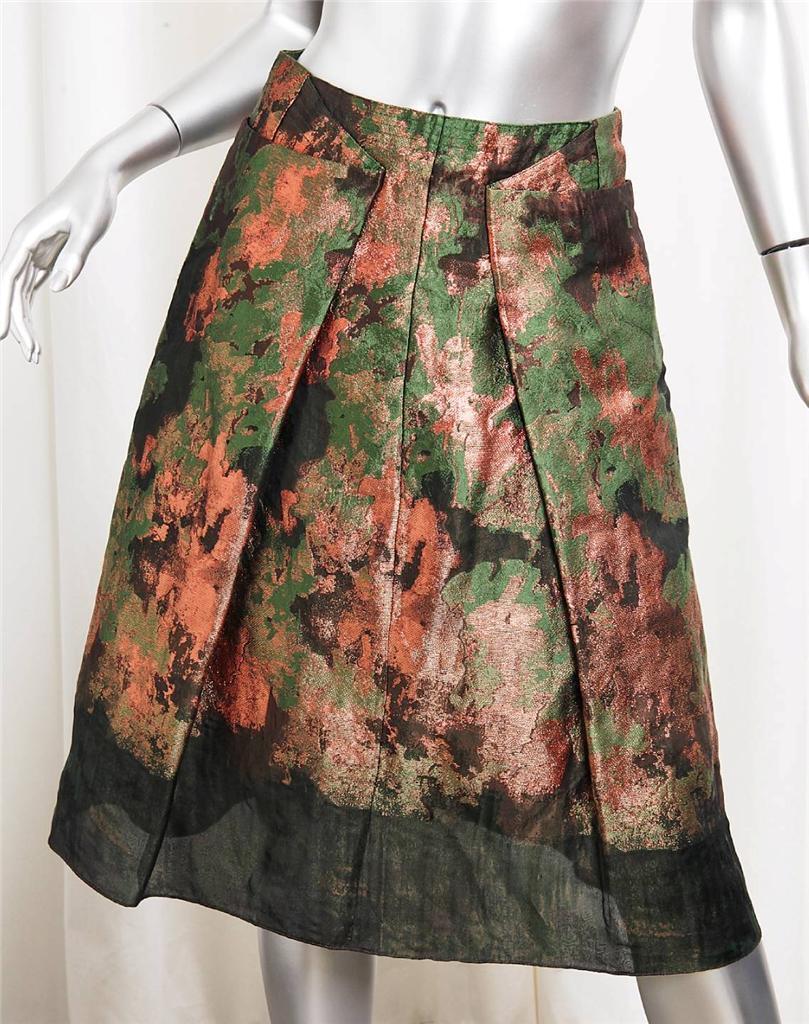 CAROLINA HERRERA Green Abstract Organza Pleated Knee-Length A-Line Skirt 2