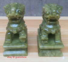 Chinese jade carving a kirin fu feng shui to ward off bad luck dog statues