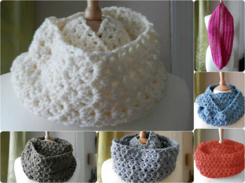 VARIOUS HandCrochet ARAN Infinity Lacey SCARF//Cowl//Neck Warmer Christmas Gift