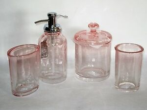 Image Is Loading Caro Bath Accessory Set Bubble Gl Ombre Pink