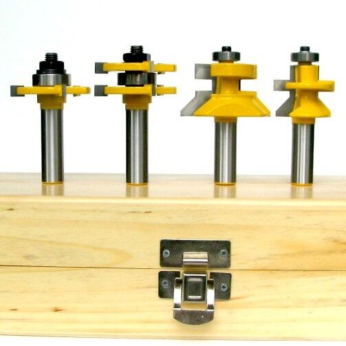 4 pc V-Joint V-Notch & Assembly Tongue & Groove Groove Groove Router Bit Set S 7a2acc