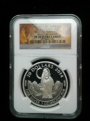 2014 Canada $20 Woolly Mammoth Early Releases NGC PF70 Ultra Cameo Silver Coin