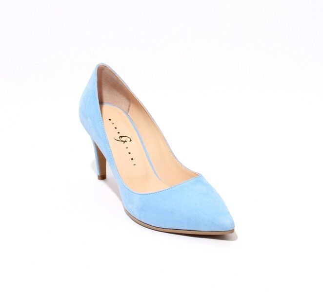 Gibellieri 3367g Sky bleu Suede Pointy Pumps 40.5   US 10.5