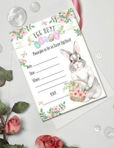 Lapin de Pâques EGG HUNT Party Invitations /& Enveloppes