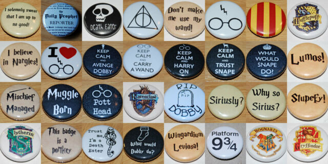 HARRY POTTER (Various Designs) Button Badge 25mm / 1 inch RON HERMIONE