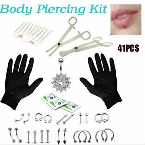 41pcs Professional Body Piercing Tool Kit Ear Nose Navel Nipple Needles Set UK