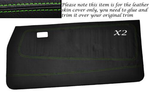 Green stitch 2x carte de porte avant pleine peau couvre FITS FORD ESCORT MK2 Coupe 2DR