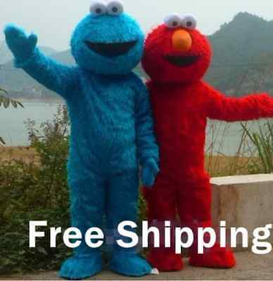 Sesame Street Red Elmo Monster & Cookie 2 pcs mascot costume Cosplay Party Dress