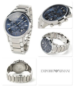 cc988351275 NEW EMPORIO ARMANI AR2448 STAINLESS STEEL BLUE DIAL CHRONOGRAPH MENS ...
