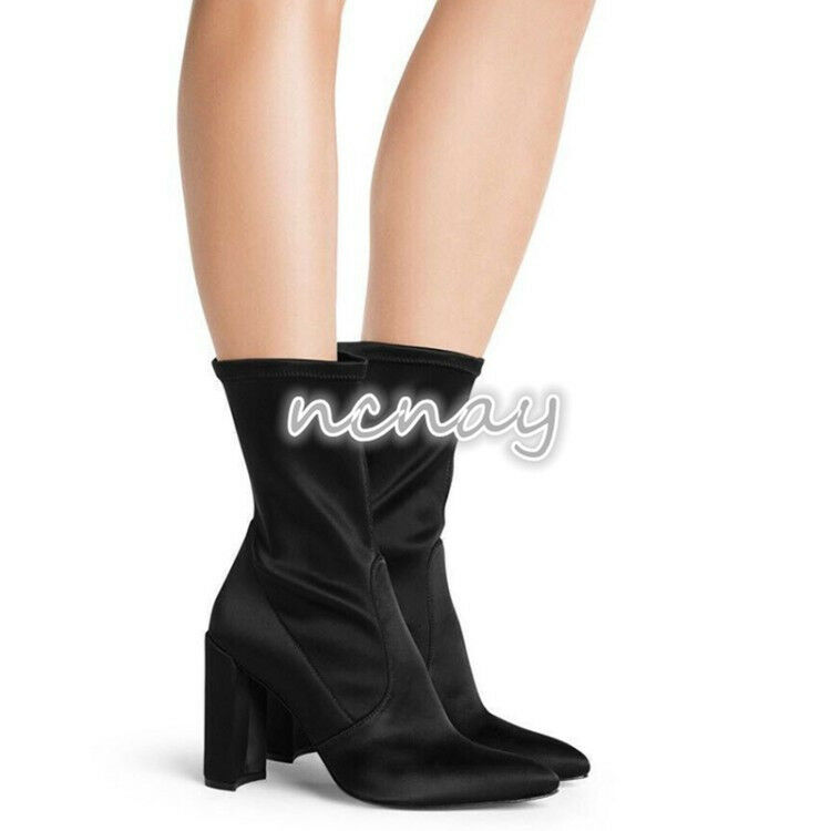 Moda para mujer Puntera Puntera Puntera Puntiaguda T-Tage Satén Tacones De Bloque botas al Tobillo de Cuero de gamuza NUEVO  promociones de equipo