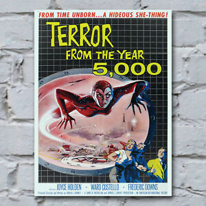 Terror-From-The-Year-5000-Canvas-Art-Print-Vintage-50-039-s-Sci-Fi-B-Movie-28-x-38cm