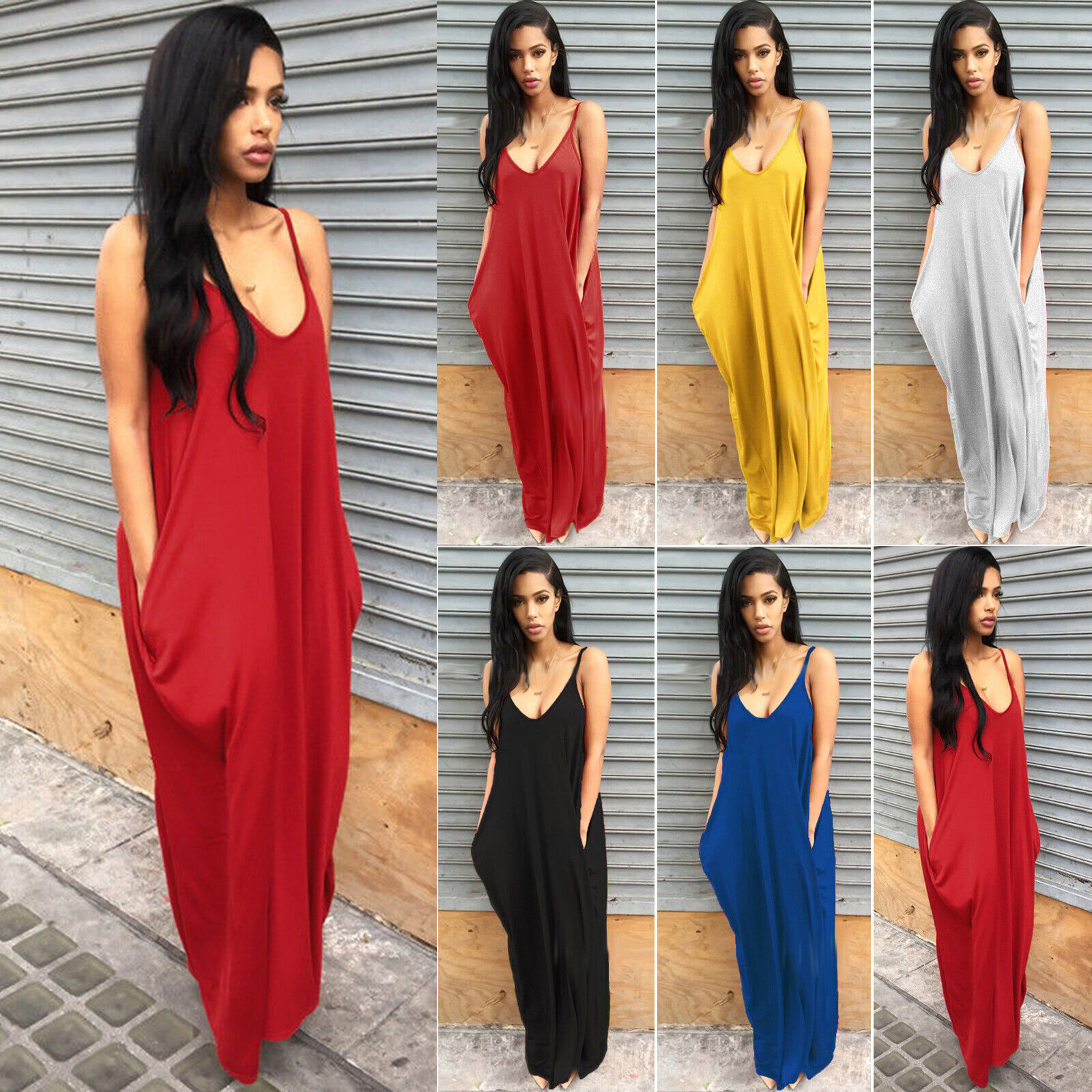 Women Ladies Maxi Dress Long Strappy Backless Loose Summer Beach Baggy Sundress 2